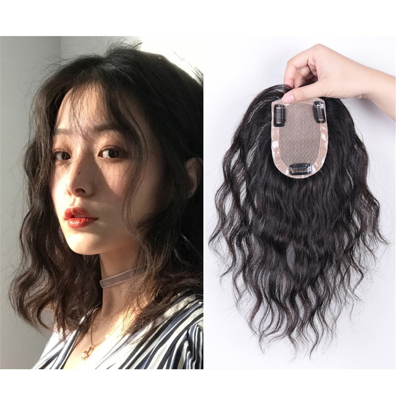 f70ea6043 Hand Needle Curly Human Hair Replacement For Women Topper Hairpieces System  8*12CM